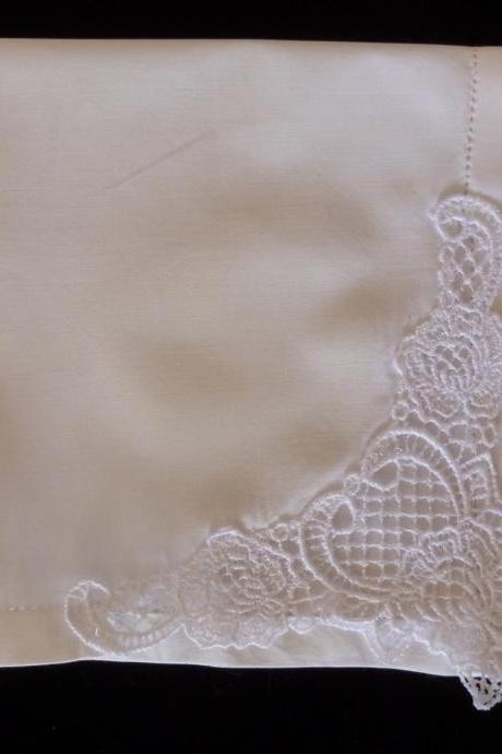 Sweetness Created Lace Hemstitched Cotton Wedding Handkerchief - Initial Impressions Exclusive - Embroidered Personalized