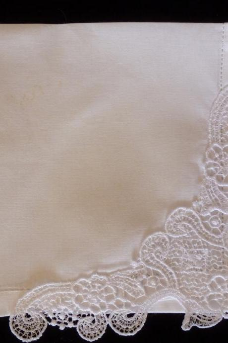 Elegance Created Lace Hemstitched Cotton Wedding Handkerchief - Initial Impressions Exclusive - Embroidered Personalized
