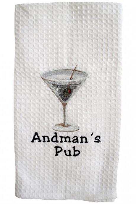 Cotton Waffleweave Towel Embroidered with Detailed Martini Glass and Personalized