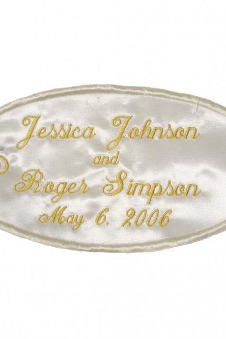 Large Wedding Label Satin Applique - Custom Embroidered and Personalized