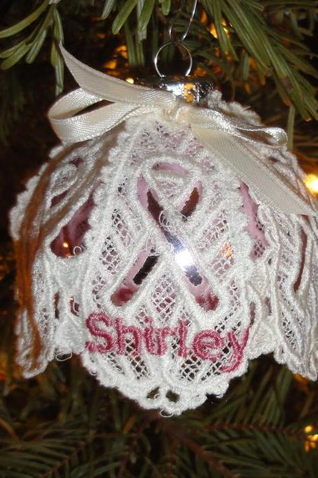 Personalized Embroidered Christmas Ornament Honors Someone Special - Breast Cancer