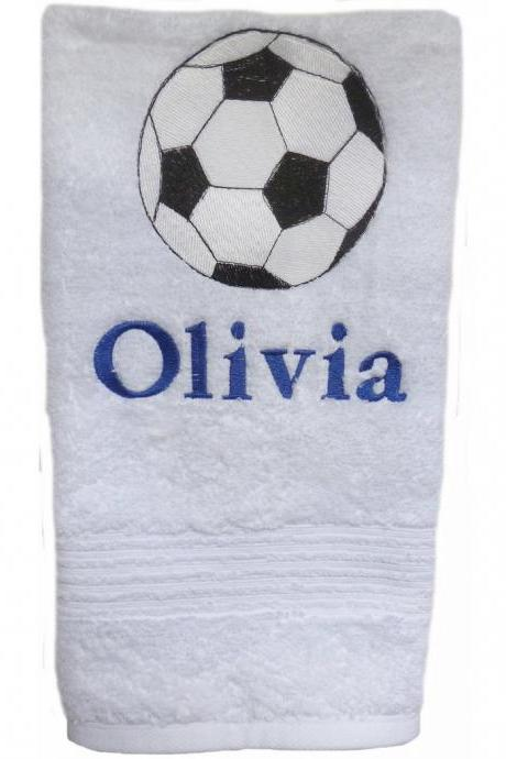 White Hand Towel Custom Embroidered with Large Soccer Ball and Personalized (Any Sport You Choose)