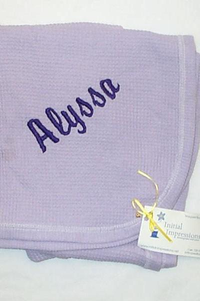 Cotton Baby Blanket Embroidered Alyssa - One Only - Closeout - embroidered with the name Alyssa NOT A CUSTOM LISTING