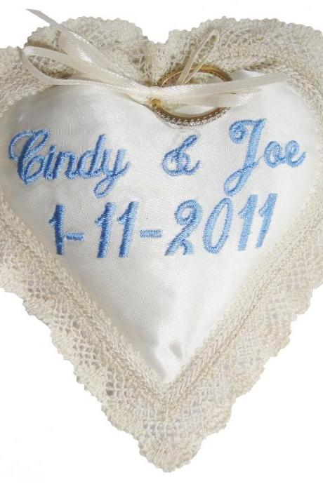 Heart and Created Lace Ringbearer Pillow - Embroidered and Personalized
