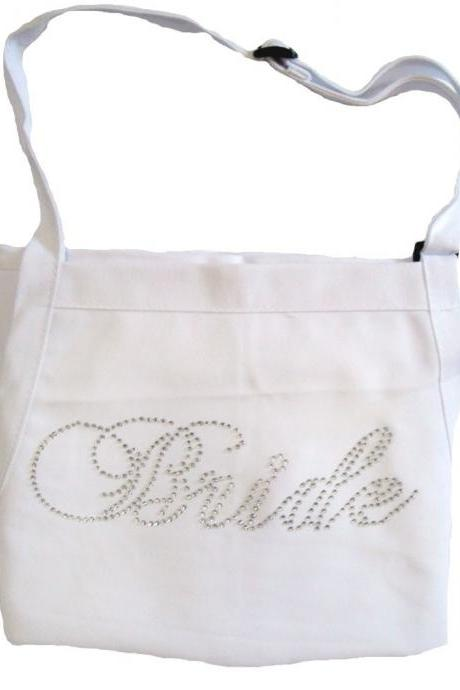 Rhinestone Bride Apron - Fancy Bride Font