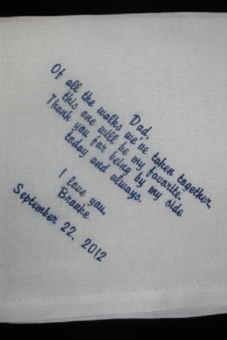 Father of Bride Hankie - My Favorite Walk - Custom Embroidered and Personalized
