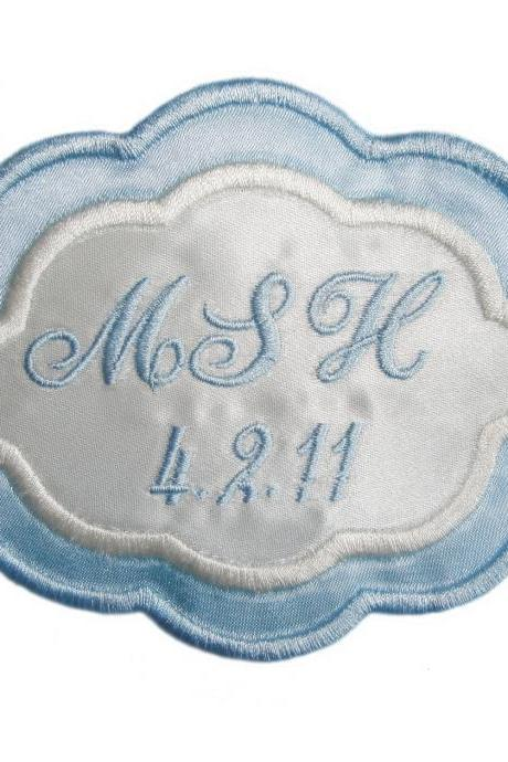Arielle Embroidered Personalized Wedding Gown Label in Bridal Blue and Ivory AND Gift Box