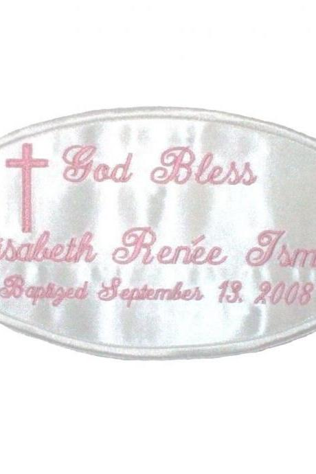 Custom Embroidered Personalized Baptism/Christening Dress Label