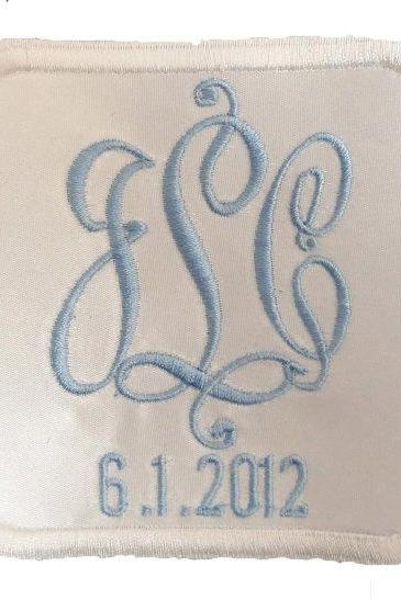 Elizabeth Satin Embroidered and Personalized Wedding Gown Label