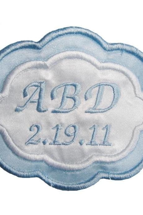 Arielle Wedding Gown Label in Bridal Blue and White Embroidered and Personalized