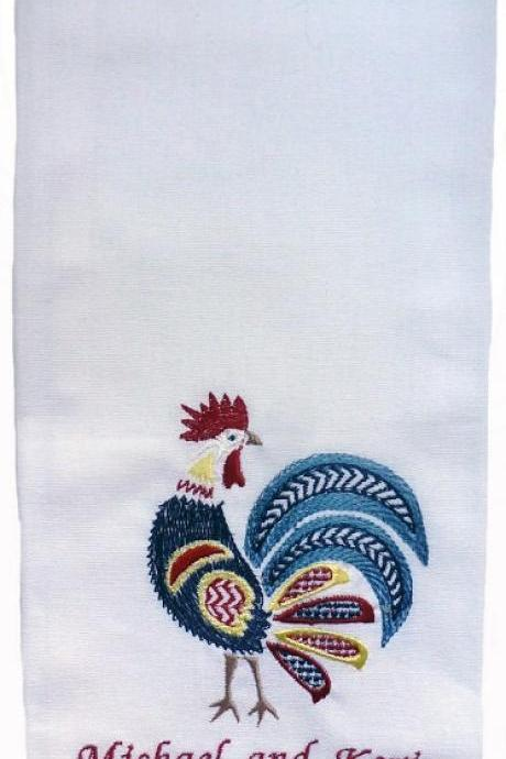 Plaid Edged Cotton Kitchen Towel Embroidered with Rooster Design and Personalized