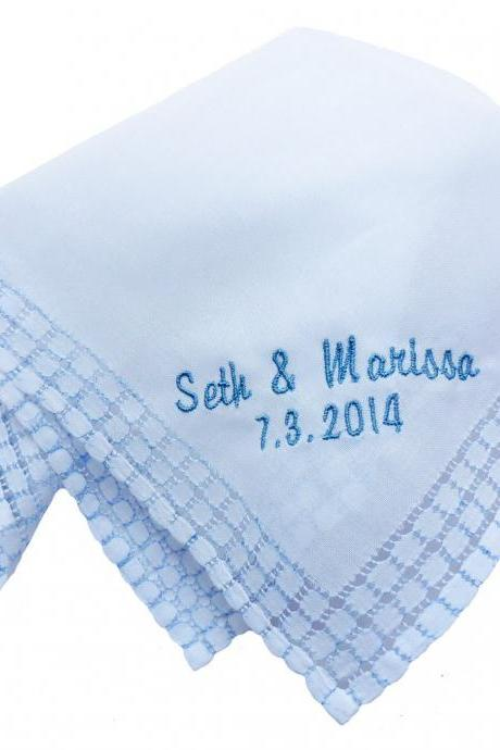 Custom Embroidered Personalized Blue Windowpane Edged Hankie with Monogram