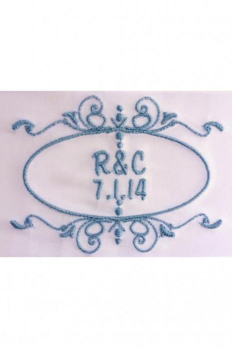 Rebecca Embroidered Personalized Satin Ribbon Wedding Gown Label - Bridal Blue