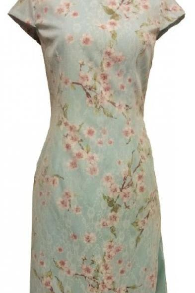 Jasmine Oriental Floral Cheong Sum - Blue Ground with Pink/White Floral overlay with White Lace