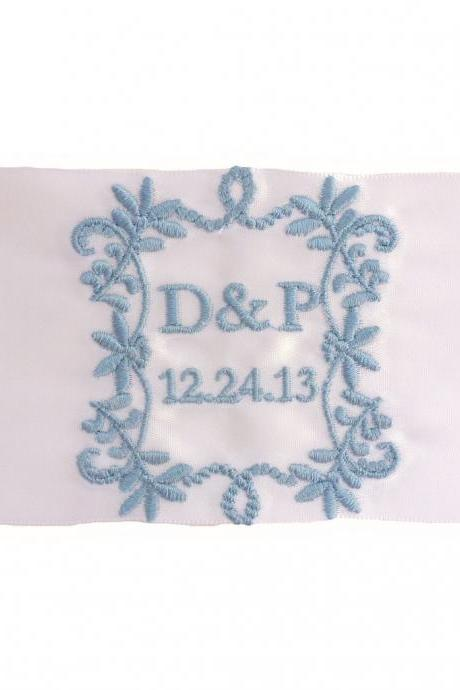 Priscilla Embroidered Personalized Satin Ribbon Wedding Gown Label - Bridal Blue