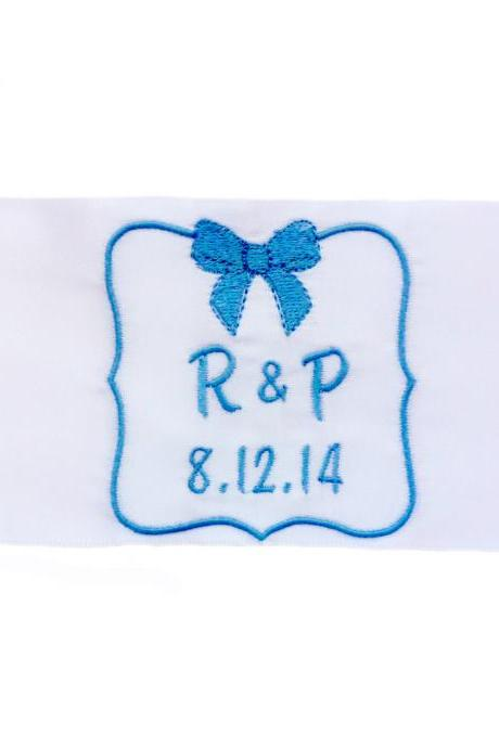 Emily Embroidered and Personalized Satin Ribbon Wedding Gown Label with Bow Detail