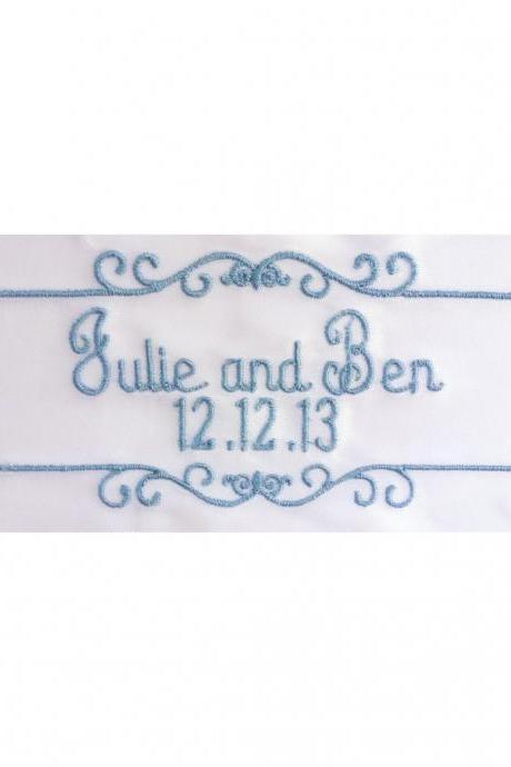 Julie Embroidered and Personalized Satin Ribbon Wedding Gown Label