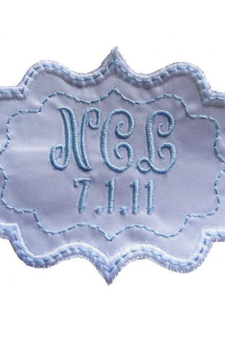 Bethany Frame Style Label in Bridal Blue and White Embroidered and Personalized