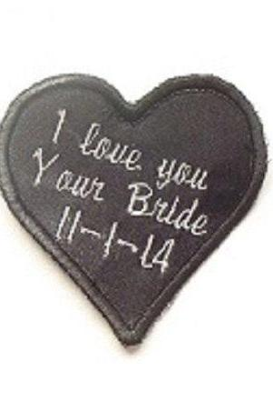 Embroidered Personalized Heart Label for the Tie of the Groom, father of bride or groom