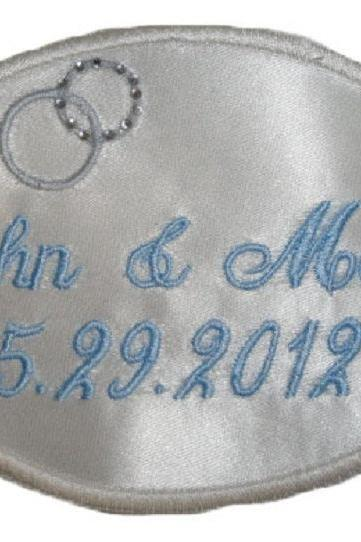 "Wedding Dress ""His and Her"" Diamond Name Label Custom Embroidered Personalized"