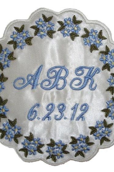 Barbara Satin Forget Me Not Wedding Gown Label Custom Embroidered Personalized AND Gift Box