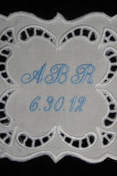 Emily Square Cutwork Wedding Gown Labels Custom Embroidered Personalized AND Gift Box