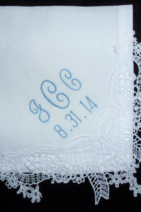 Graceful Created Lace Hemstitched Cotton Wedding Handkerchief - Initial Impressions Exclusive - Embroidered and Personalized