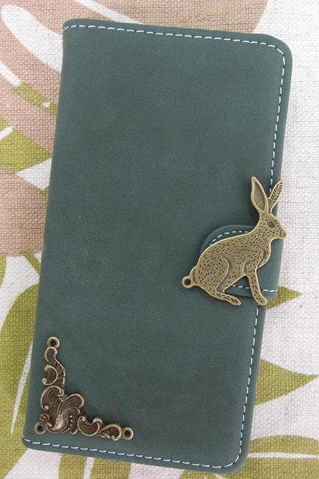 iPhone 6 Wallet Case/iPhone 6 Plus Wallet Case-Rabbit/Plant Studded Army Green iPhone 6/6 Plus Wallet Case-Credit Card Case