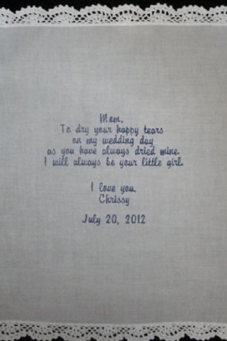 Wedding Hankie with Your Choice of Poem Custom Embroidered and Personalized