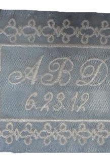 Alison Bridal Blue Satin Ribbon Wedding Gown Label Embroidered and Personalized