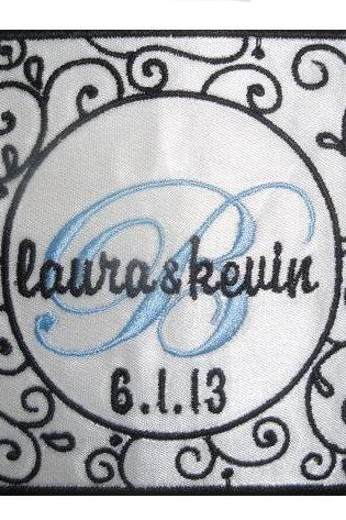RUSH and PRIORITY MAIL added -- Graphically Stunning Laura Wedding Gown Label Embroidered and Personalized