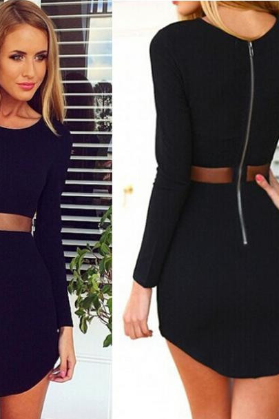 2014 Brand New Fashion Women Black Bodycon Dresses Casual O-Neck Long Sleeved Mini Dress Sexy Mesh Slim Vestidos Plus Size
