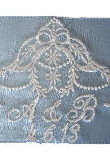 Brittany Embroidered and Personalized Bridal Blue Satin Ribbon Wedding Gown Label - AND Gift Box