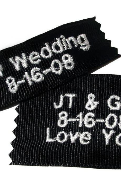 Groom's Personalized Ribbon Labels (Set of Two) Embroidered and Personalized