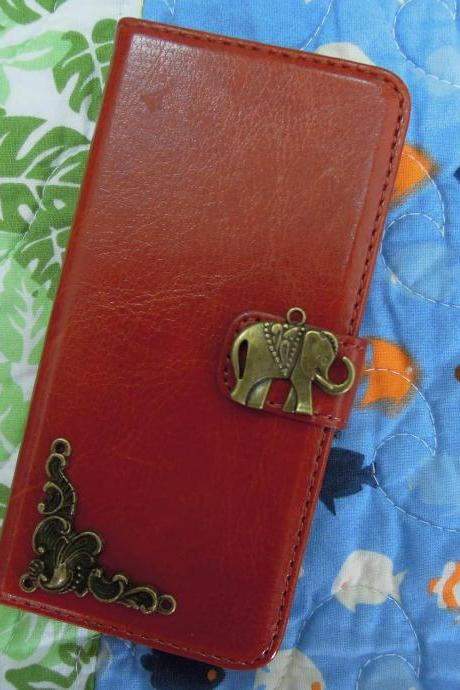 iPhone 6 Wallet Case/iPhone 6 Plus Wallet Case-Elephant/Plants Studded Brown iPhone 6/6 Plus Wallet Case-Credit Card Case