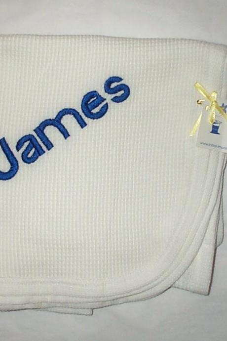 Price Reduced - Cotton Baby Blanket Embroidered James - Last One