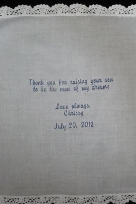 Mother of Groom Hankie Embroidered and Personalized