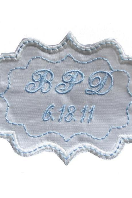 Bethany Embroidered and Personalized Wedding Gown Frame Style Label in Bridal Blue and Ivory