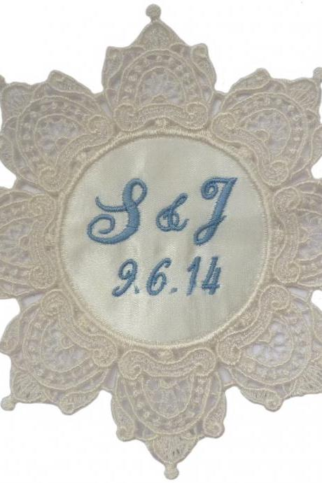 Sarah Personalized Embroidered Wedding Gown Label Lace Tag