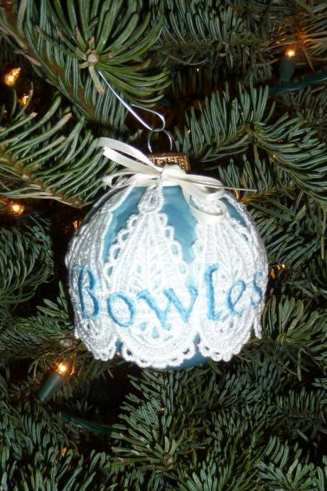Embroidered and Personalized Christmas Ornament - Simple
