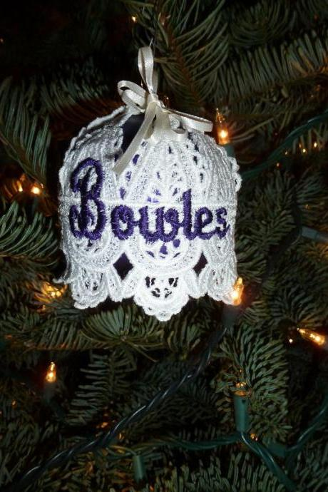 Embroidered and Personalized Christmas Ornament - Bell Shape over Glass Ball