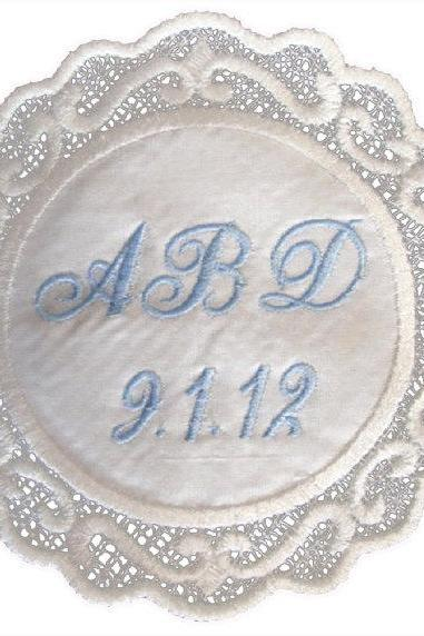 Melanie Silk Scrolled Created Lace Wedding Gown Label Custom Embroidered Personalized