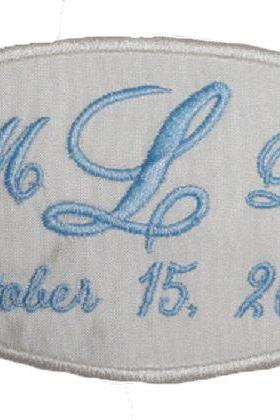 Silk Wedding Dress Name Label Custom Embroidered Personalized AND Gift Box