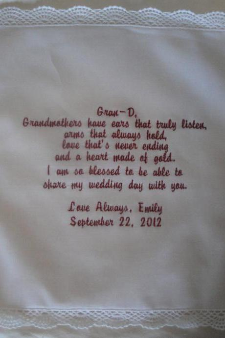 Grandmother of Bride or Groom Embroidered and Personalized Hankie - Heart of Gold - IVORY hankie - GIFT WRAP