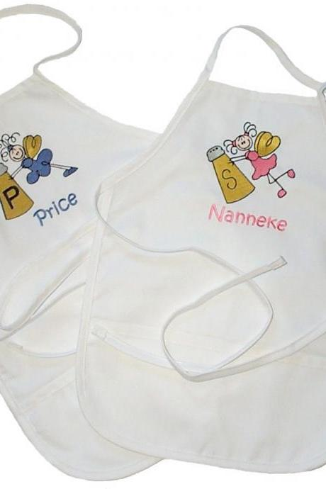 Custom Embroidered and Personalized Salt and Pepper Angel Aprons for Two Girls - One Large Size Apron and One Small Size Apron