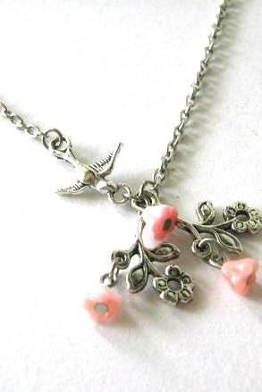 Light pink flower necklace with sparrow antiqued silver jewelry