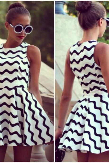 Gorgeous A Line White Printed Mini Dress