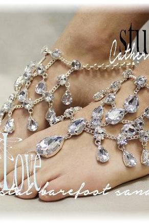 858acd3cc7c05f CRYSTAL Barefoot sandals bridal foot jewelry barefoot sandle destination wedding  shoes beach wedding jewelry by Catherine