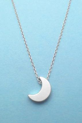 Half, Moon, Crescent, Moon, New, Moon, Silver, Necklace