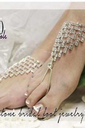 DAZZLING BRIDE rhinestone silver Barefoot sandals wedding shoes bridal bridesmaid beach wedding Shoe foot Jewelry Catherine Cole Studio SJ6